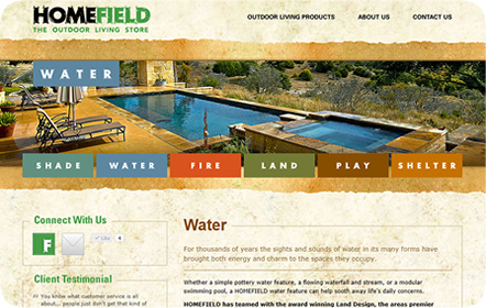 HOMEFIELD - Outdoor Living Store - San Antonio Website Design & Development