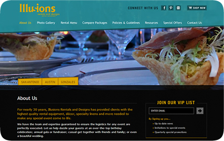 Illusions Rentals & Designs Website Design
