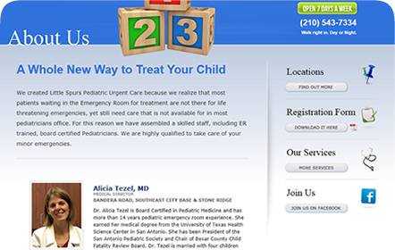 Little Spurs Pediatric Urgent Care San Antonio Website Design & Development