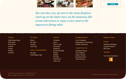Picosa Ranch Resort - Luxury Ranch - San Antonio Website Design