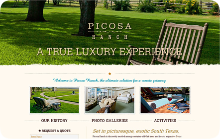 Picosa Ranch Resort - Luxury Ranch Website Design San Antonio